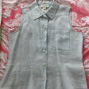 Jones New York pale blue linen top